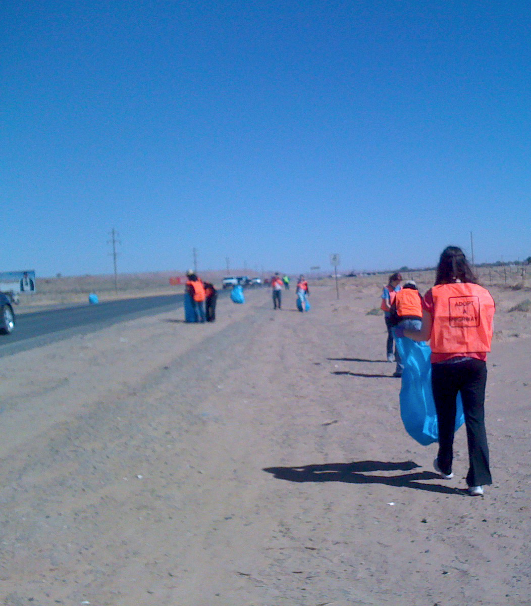 Student nurses participating in highway cleanup
