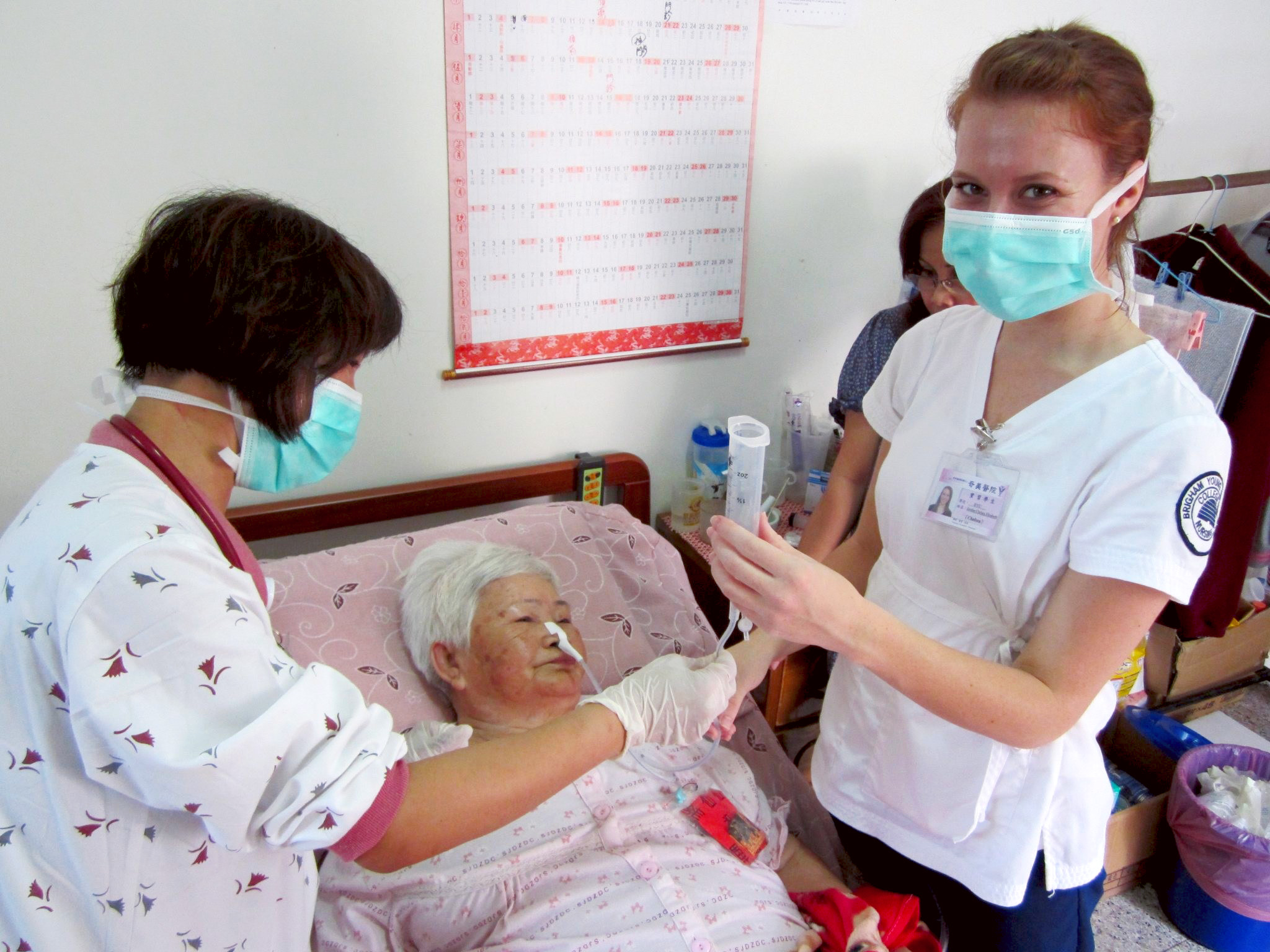 Student nurse assisting in hospital in Taiwan